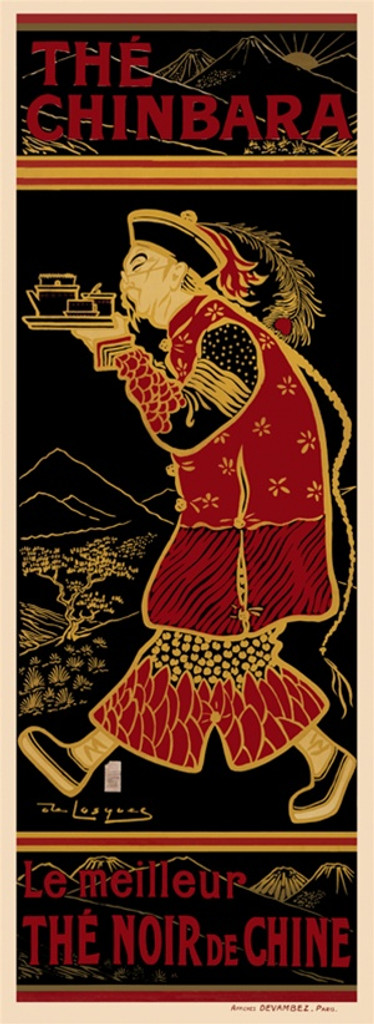 The Chinbara 1899 France - Beautiful Vintage Poster Reproductions. This vertical French culinary / food poster features an Asian man dressed in red in profile walking with a tray of tea on black background. Giclee Advertising Print. Classic Posters