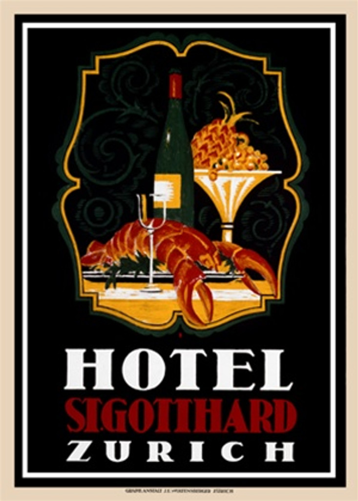Hotel St. Gotthard by Baumbergen 1930 Switzerland - Vintage Poster Reproductions. This Swiss culinary/food poster features a lobster on a plate with a bottle of wine and glass next to a bowl of fruit (pineapple). Giclee Advertising Print. Classic Posters