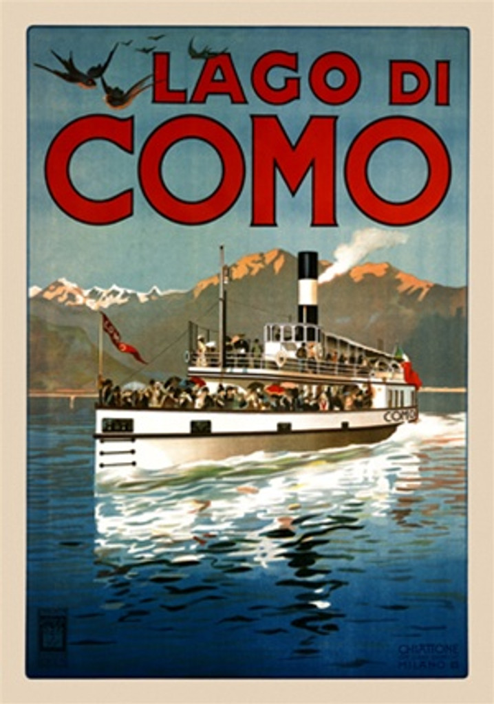 Lago Di Como 1905 Italy - Beautiful Vintage Poster Reproductions. This vertical Italian travel poster features a boat full of people moving across a lake with mountains in the background. Giclee Advertising Print. Classic Posters