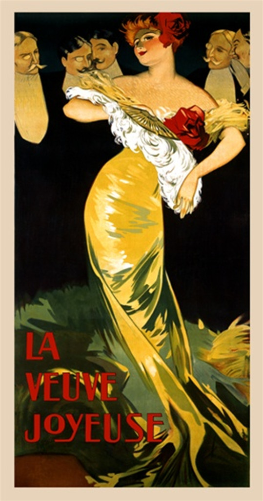 La Veuve Joyeuse 1900 Italy - Beautiful Vintage Poster Reproductions. This vertical Italian theater poster features a flirty woman with a feather fan standing in front of 5 men in tuxedos and monocles. Giclee Advertising Print. Classic Posters
