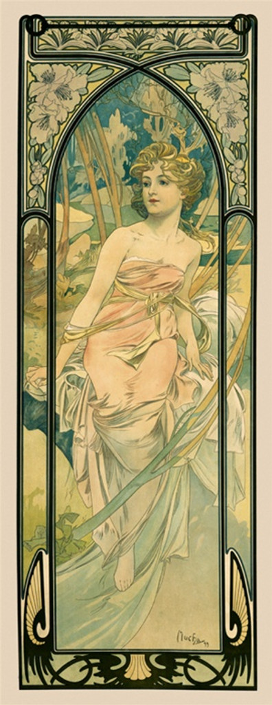 Times of the Day Eveil du Matin poster by Alphonse Mucha 1899 France - Vintage Poster Reproductions. This French poster features a woman in a pink dress in a forest inside a decorative frame with arch and flowers. Giclee Advertising Print. Classic Posters
