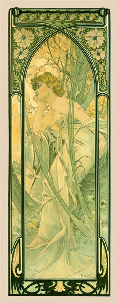 Times of the Day Reverie De Soir by Mucha 1899 France - Vintage Poster Reproductions. This poster features a woman in the forest leaning her elbow on her knee and her chin in her hand with a decorative frame. Giclee Advertising Print. Classic Posters