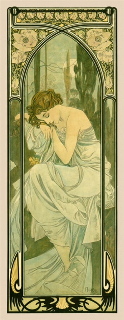 Times of the Day Repos de la Nuit Night Rest by A. Mucha 1899 France - Vintage Poster Reproductions. This poster features a sleeping woman sitting in the forest resting her head on her arm in a decorative frame. Giclee Advertising Print. Classic Posters