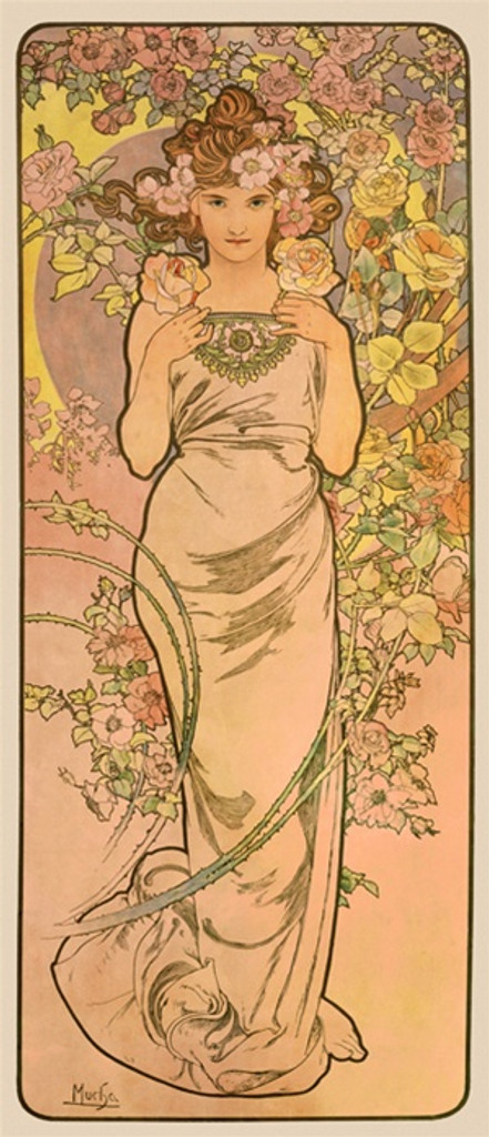 The Flowers La Rose Mucha poster France - Beautiful Vintage Posters Reproductions. French art nouveau poster features a woman surrounded by flowers in this pink and yellow image. Giclee Advertising Print. Classic Posters Mucha art nouveau posters.