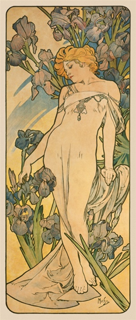 The Flowers Iris poster by A. Mucha 1898 French - Beautiful Vintage Poster Reproductions. This vertical French art nouveau poster features a woman surrounded by lris flowers. Giclee Advertising Print. Classic Posters. A. Mucha posters prints