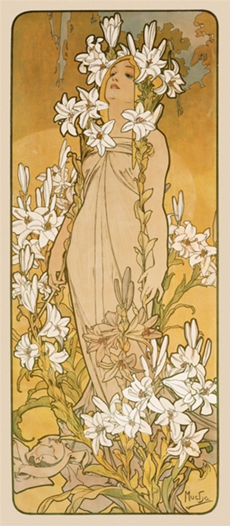 The Flowers Le Lys poster by Mucha 1898 France - Beautiful Vintage Poster Reproductions. This vertical French art nouveau poster features a woman standing in a field of flowers with flowers in her hair. Giclee Advertising Print. Classic Posters