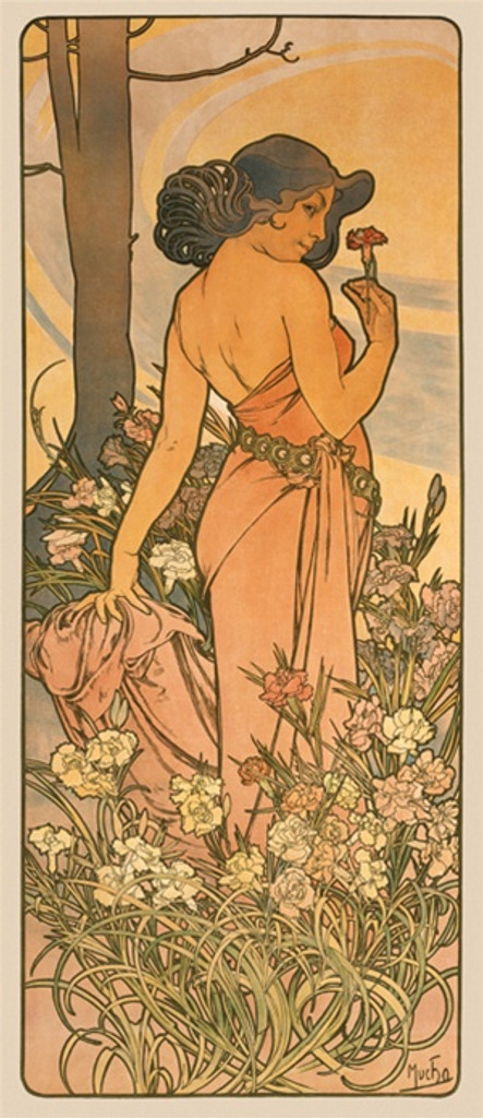 The Flowers L Oeillet by Mucha 1898 France - Vintage Poster Reproductions. This vertical French poster features a woman in a field of flowers looking over her shoulder at us holding a carnation by a tree. Giclee Advertising Print. Classic Posters