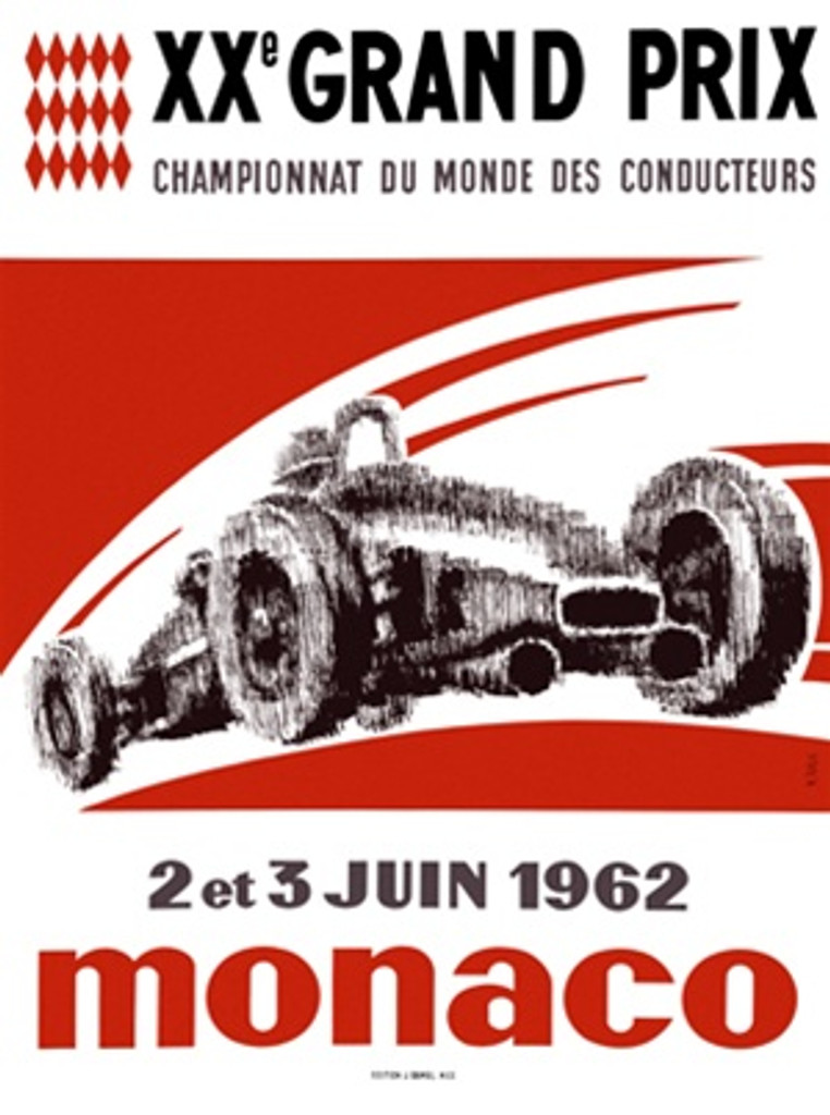 Monaco 1962 France - Beautiful Vintage Poster Reproductions. This vertical French transportation poster features a blurry sketch of a Grand Prix race car on a red and white background. Giclee Advertising Print. Classic Posters
