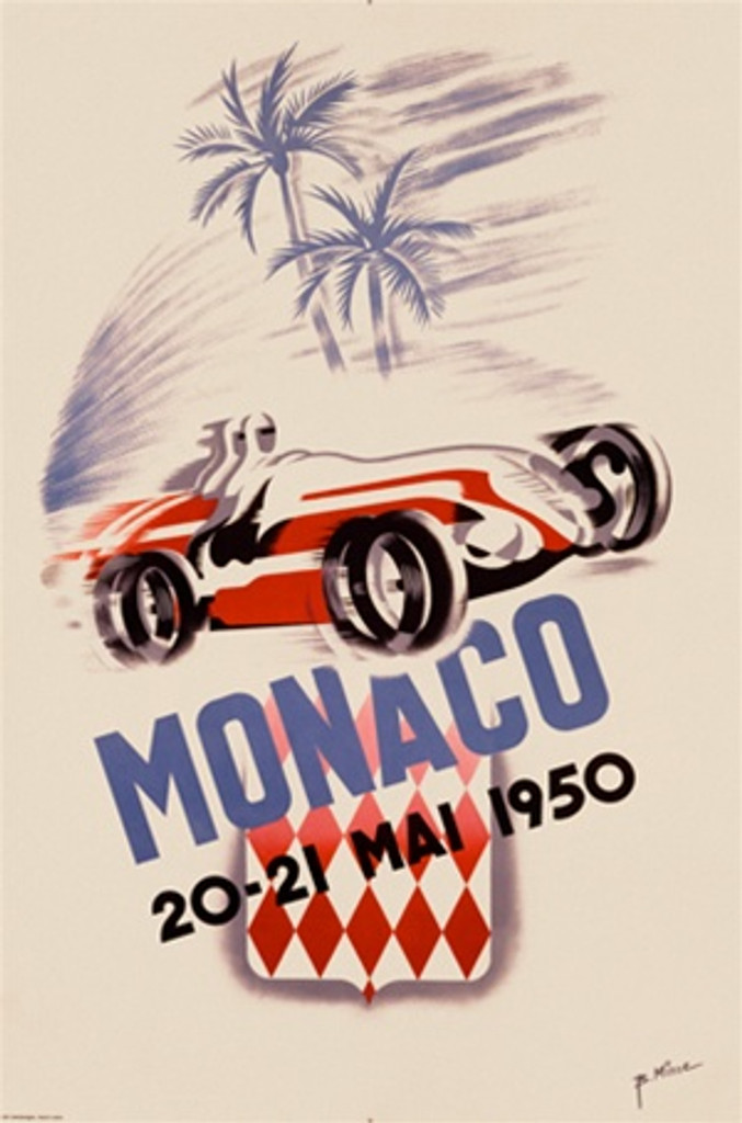 Monaco 1950 France - Beautiful Vintage Poster Reproductions. This vertical French transportation poster features a red race car and driver speeding past palm trees on a off white background. Giclee Advertising Print. Classic Posters