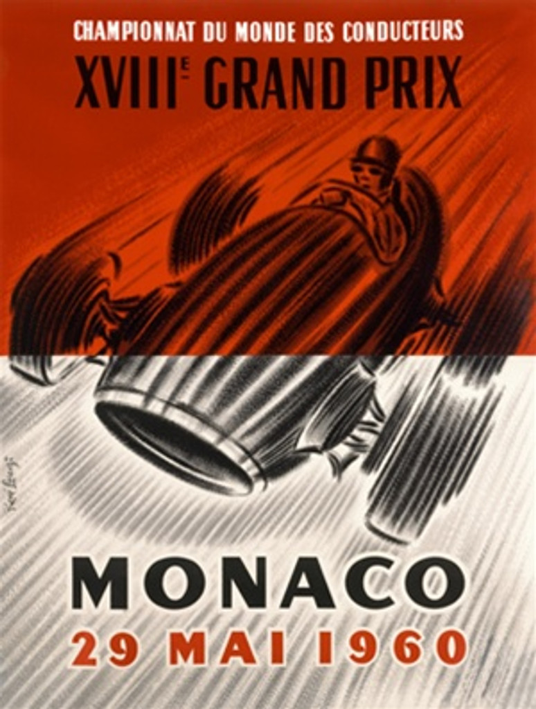 Monaco 1960 France - Beautiful Vintage Poster Reproductions. This vertical French transportation poster features a sketch in black of a Grand Prix race car and driver on a half red, half white background. Giclee Advertising Print. Classic Posters