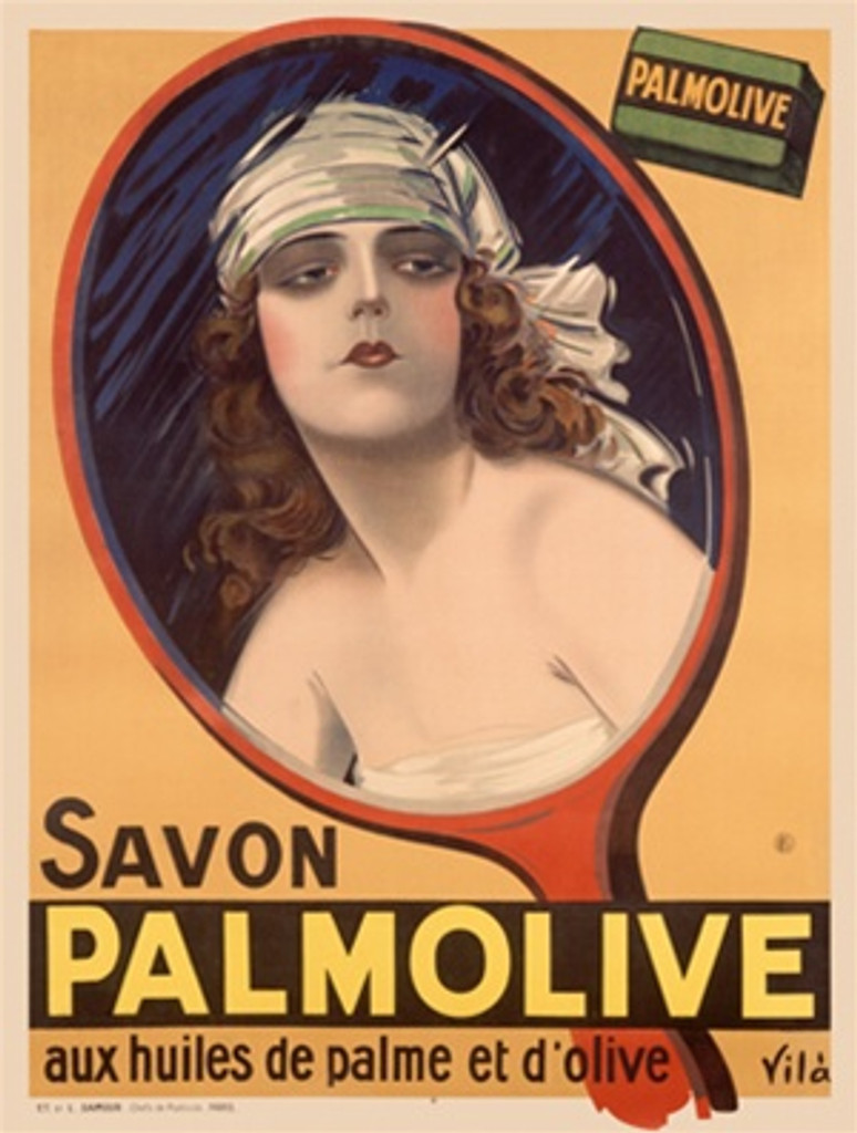 Savon Palmolive by Vila 1925 France - Beautiful Vintage Poster Reproductions. This vertical French product poster features a woman's reflection in an orange hand mirror with a bar of soap in the corner. Giclee Advertising Print. Classic Posters