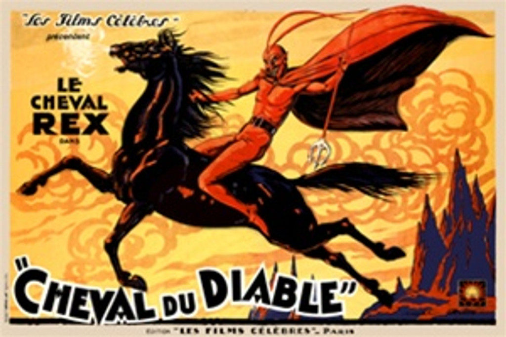 Cheval Diable 1930 France - Beautiful Vintage Poster Reproductions. This horizontal French theater and exhibition poster features a red devil riding a black horse against a yellow sky with pointed mountains. Giclee Advertising Print. Classic Posters