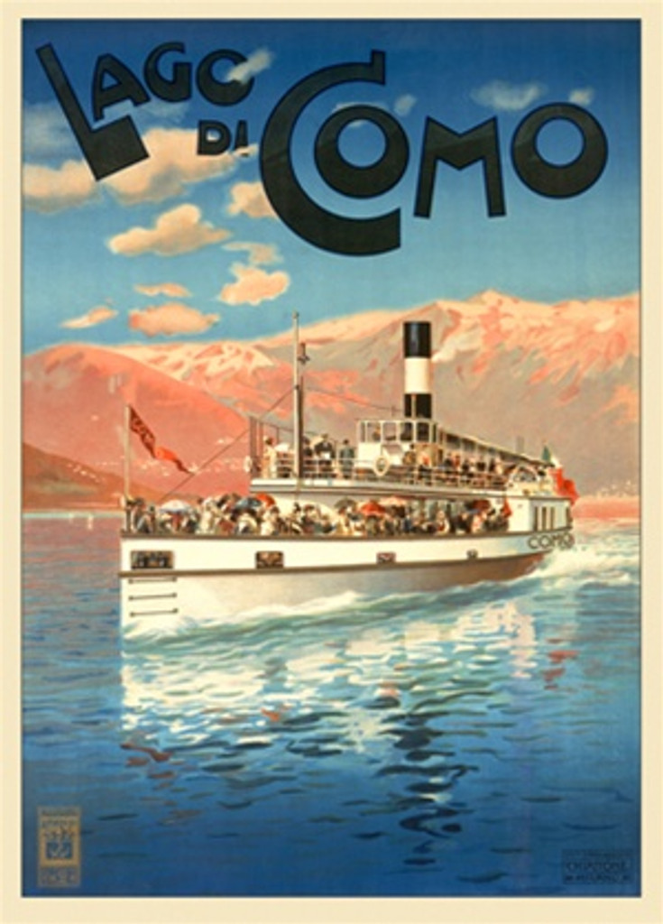 Lago di Como 1905 Italy - Beautiful Vintage Poster Reproductions. This vertical Italian travel poster features a boat full of people moving across a lake with pastel mountains in the background. Giclee Advertising Print. Classic Posters