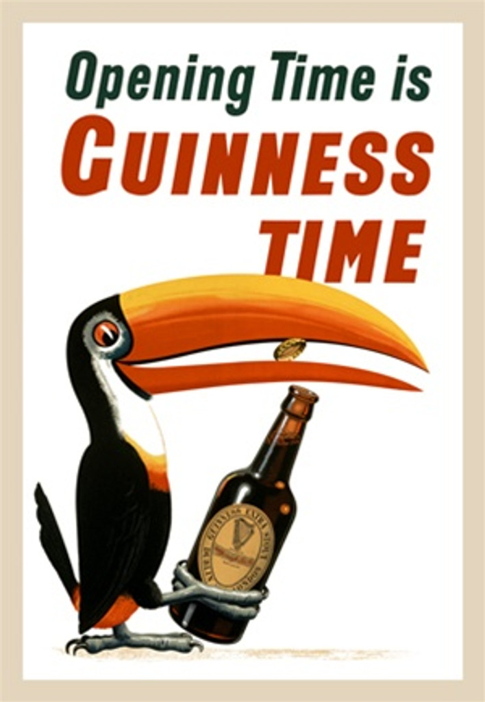 Opening Time is Guinness Time by Gilroy 1936 English - Beautiful Vintage Poster Reproductions. This vertical English wine and spirits poster features a toucan bird popping a cap off a bottle of beer with his beak. Giclee Advertising Print. Classic Posters