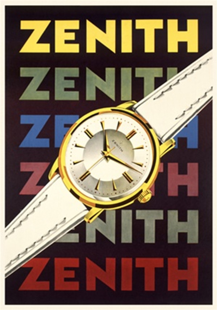 "Zenith 1958 Switzerland - Beautiful Vintage Poster Reproductions. This vertical Swiss product poster features a white watch with gold trim across repeated rainbow colored text """"Zenith"""". Giclee Advertising Print. Classic Posters"