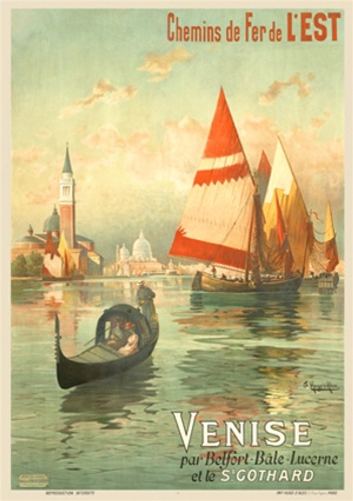 Venise by H. d'Alessi 1902 France - Beautiful Vintage Poster Reproductions. This vertical French travel poster features a couple in a gondola on open water with sailboats behind it and the city in the distance. - Beautiful Vintage Poster Reproductions.