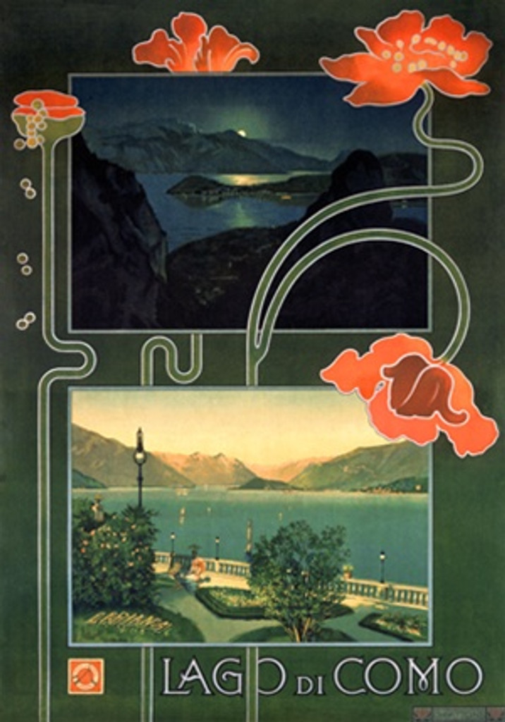 Lago di Como travel poster from Italy - Beautiful Vintage Poster Reproductions. Italian poster features a day and evening view of the lake with flowers wrapping around the two frames. Giclee Advertising Print. Classic Posters