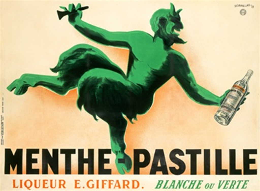 Menthe Pastille poster Cappiello - Beautiful Vintage Poster Reproductions. This horizontal French wine and spirits poster features a green satyr with a horn in one hand and a bottle of mint liqueur in the other. Giclee Advertising Print. French Posters