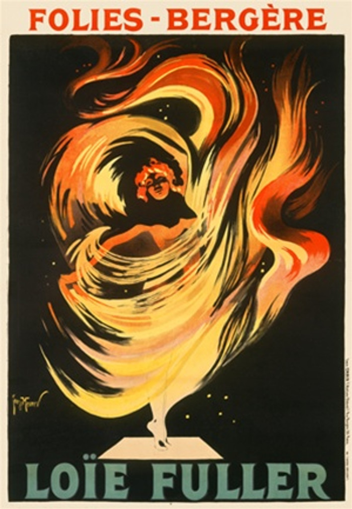 Loie Fuller by Georges Meunier 1897 France - Beautiful Vintage Poster Reproductions. This vertical French theater and exhibition poster features a woman dancing surrounded by flames which flow like a dress around her. Giclee Advertising Print. Classic Posters