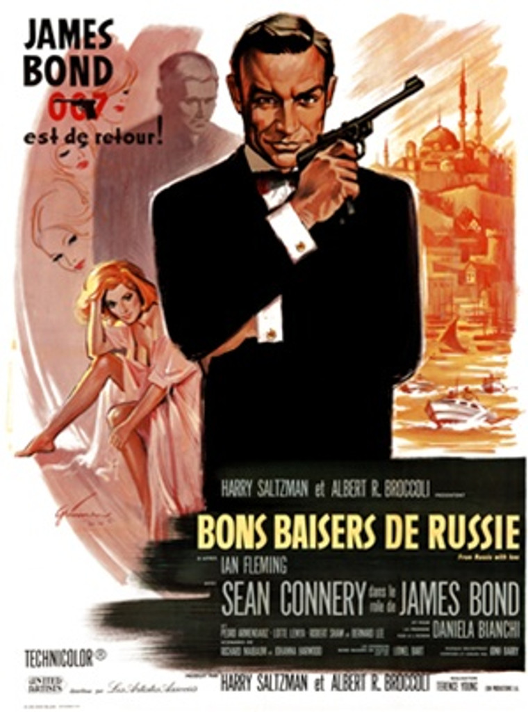 James Bond, Bons Baisers de Russie 1960 France - Vintage Poster Reproductions. This vertical French theater poster features 007 in a tuxedo holding his pistol with the Russian landscape and women behind him. Giclee Advertising Print. Classic Posters