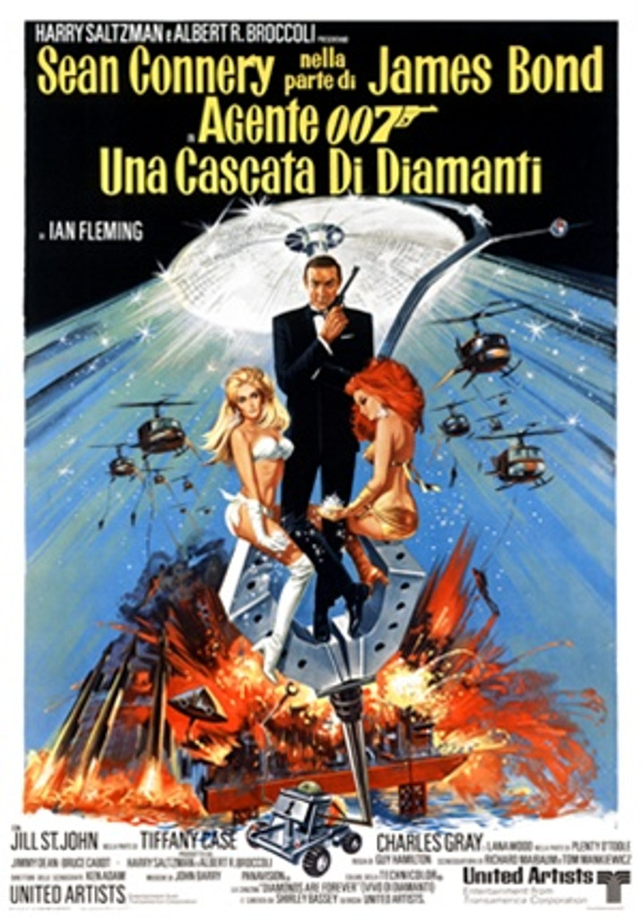 James Bond, Una Cascata Di Diamanti 1960 Italy - Beautiful Vintage Poster Reproductions. This vertical Italian theater poster features Agent 007 and two women holding diamonds while helicopters bomb behind them. Giclee Advertising Print. Classic Posters