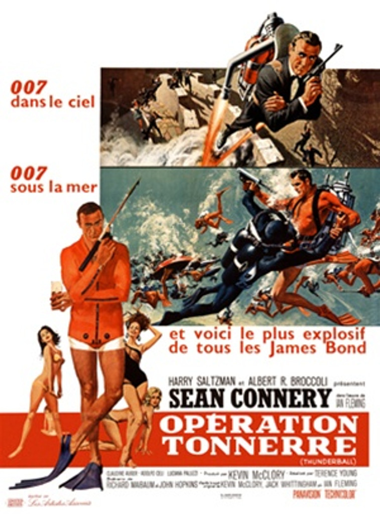 James Bond, Operation Tonnerre 1960 France - Beautiful Vintage Poster Reproductions. This vertical French theater poster features 007 wrestling a man while scuba diving and with his gun flying with a jet pack. Giclee Advertising Print. Classic Posters