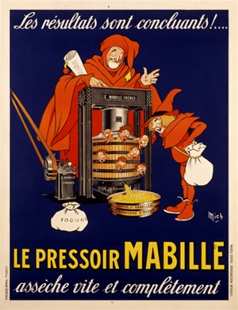 Pressoir Mabille by Mich 1925 France - Vintage Poster Reproductions. This vertical French product poster features a man in orange robes examining a press with heads popping out & yellow product from the spout. Giclee Advertising Print. Classic Posters
