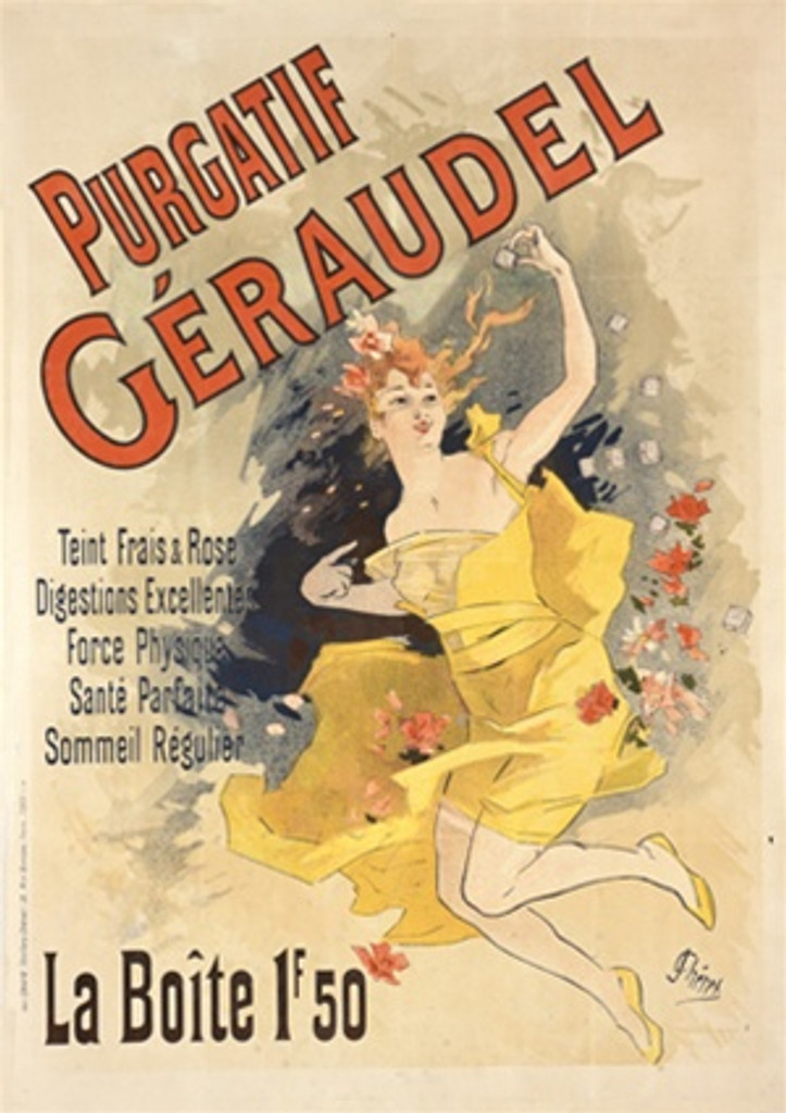 Purgatif Geradel by Cheret 1898 France - Beautiful Vintage Poster Reproductions. French product poster features a woman in yellow dress floating with flowers around her. Giclee Advertising Print. Classic Posters