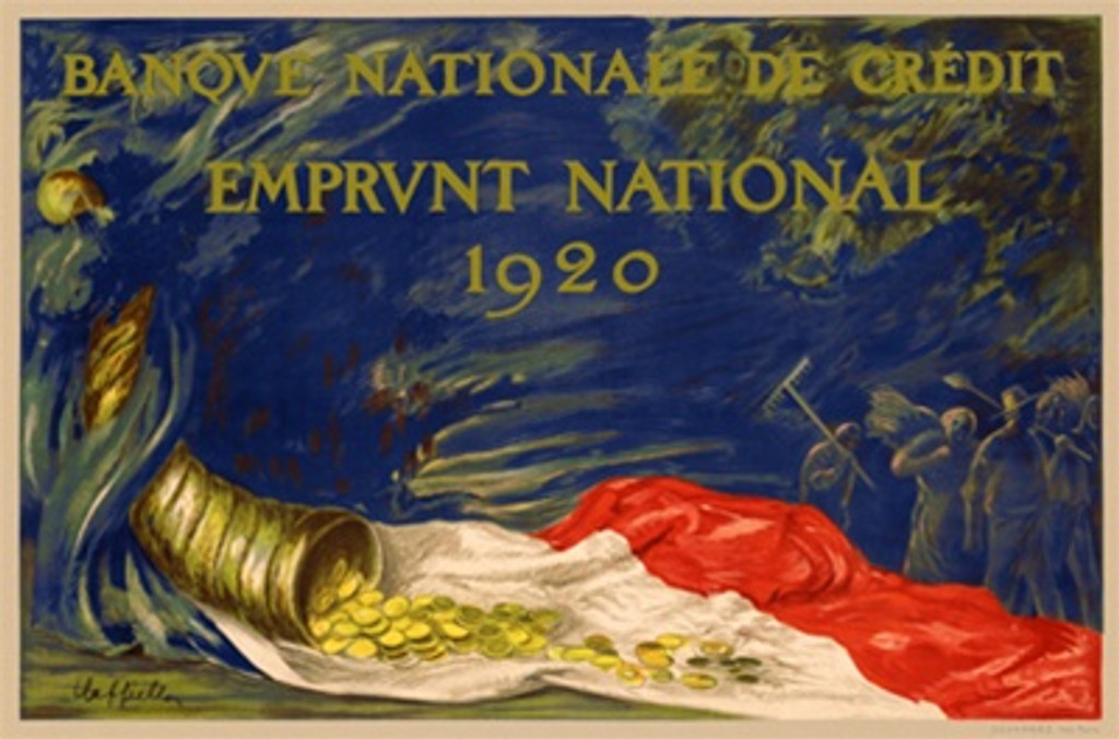 Emprunt National by Cappiello 1920 France - Beautiful Vintage Poster Reproduction. French poster showing a cornucopia of gold coins pouring onto a flag. It is advertising the National Bond Drive of 1920. Giclee advertising print. Classic posters
