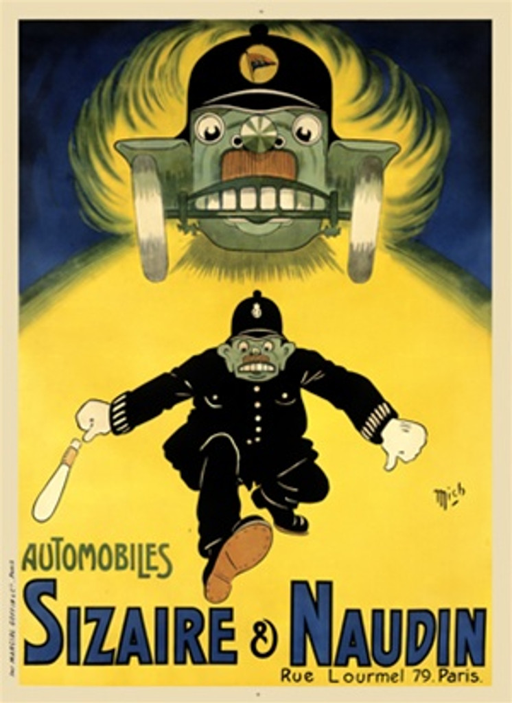 Automobiles Sizaire and Naudin by Mich 1920 France - Vintage Poster Reproductions. This vertical French transportation poster features a police man being chased by a car with a face and hat against a yellow road. Giclee Advertising Print. Classic Posters