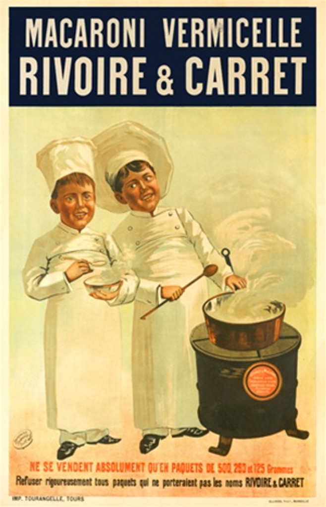 Macaroni Rivoire Carret 1900 France - Beautiful Vintage Poster Reproductions. French food poster features two boy chefs cooks at a stove with a steaming pot holding spoons. Giclee Advertising Print. Classic Posters