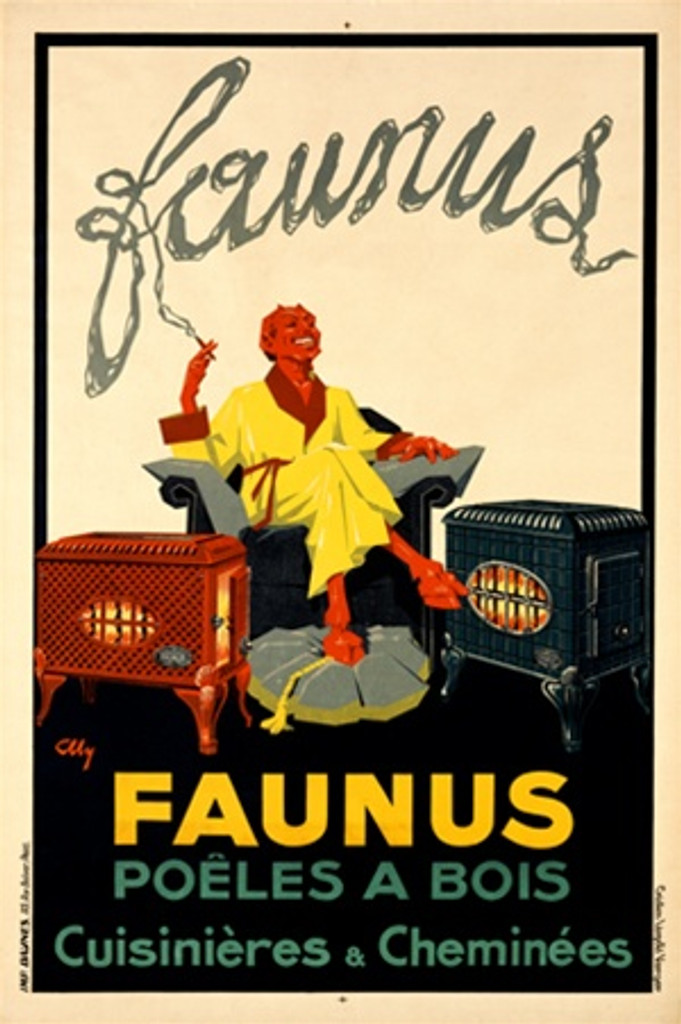 Faunus by Alley 1925 France - Beautiful Vintage Poster Reproductions. French product poster features a red devil in a yellow robe sitting between two wood stoves smoking a cigarette. Giclee Advertising Print. Classic Posters
