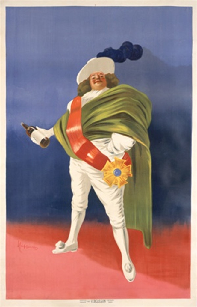 Roi de Licquer by Cappiello 1907 France - Beautiful Vintage Posters Reproductions. This vertical French poster proof featuring a regal man in a green cape and red sash holding a bottle of liquor against a red and blue background. Giclee advertising print