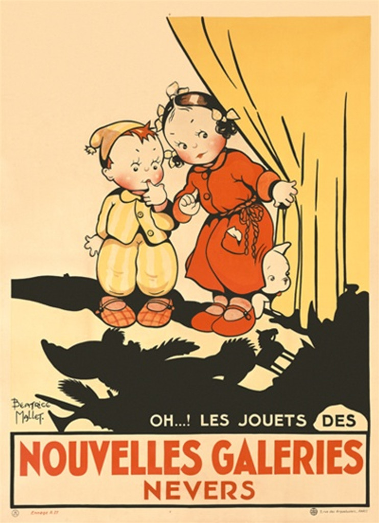 Noubelles Galeries Nevers by Mallet 1925 France - Vintage Poster Reproductions. French product poster features children peaking around a corner at their toys with cast a shadow on the floor. Giclee Advertising Print. Classic Posters