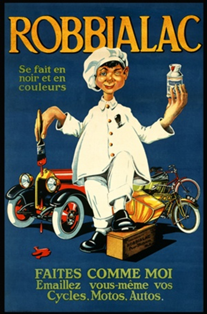 Mich poster Robbialac 1920 France - Beautiful Vintage Posters Reproductions. French product poster features a man in white holding a can of paint and a brush dripping in red with a car and bikes behind him. Giclee Advertising Prints.