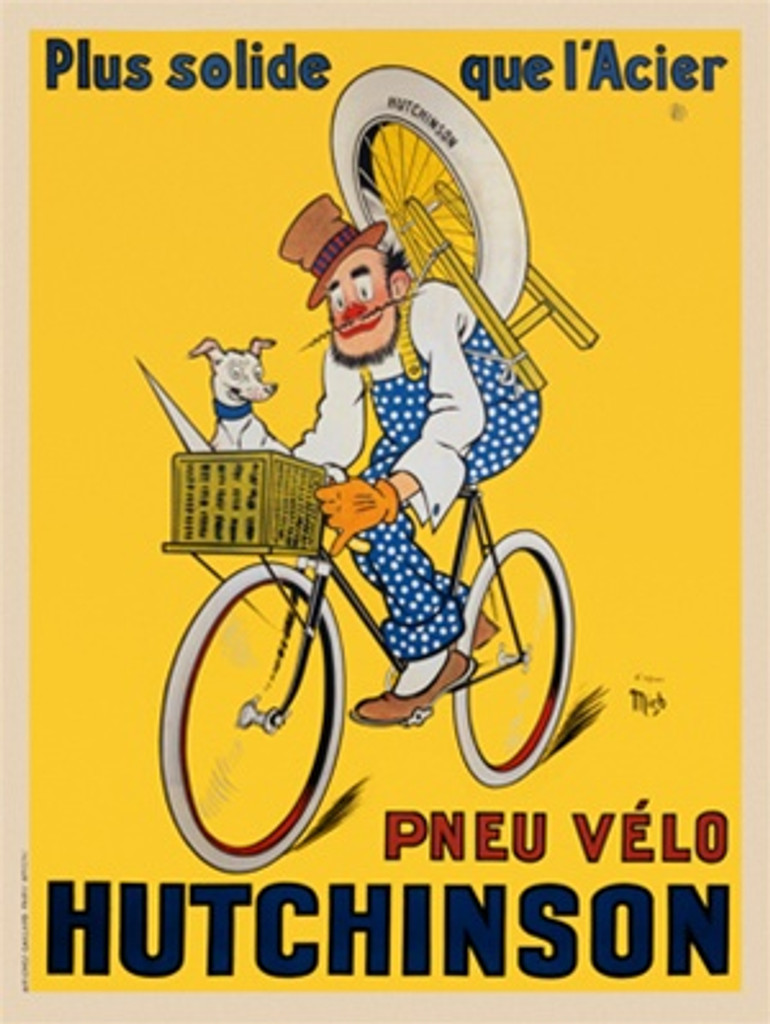 Pneu Velo Hutchinson by Mich 1929 France - Vintage Poster Reproductions. This vertical French transportation poster features a clown riding a bicycle with a dog in the basket and a wheel on a stand on his back. Giclee Advertising Print. Classic Posters