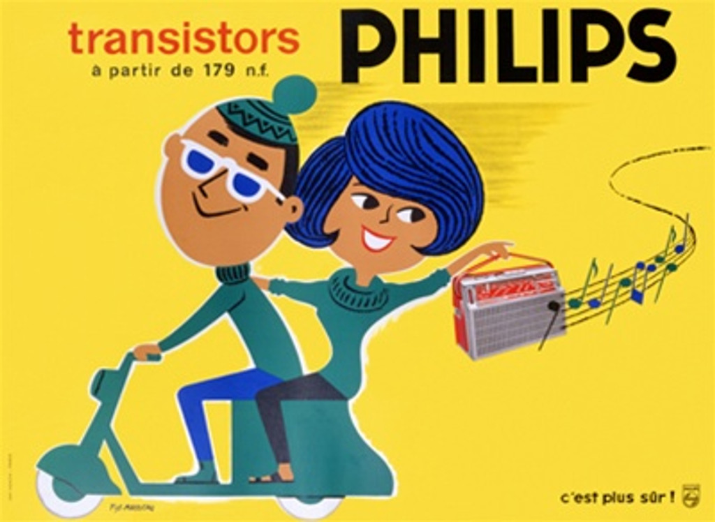 Philips by Fix Masseau 1952 France - Vintage Poster Reproductions. This horizontal French product poster features a couple on a green motercycle, the woman is holding up a radio with music behind them on yellow. Giclee Advertising Print. Classic Posters