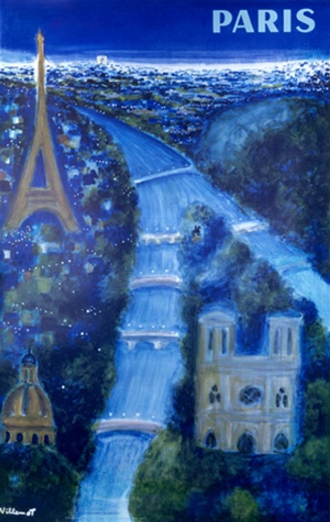 Paris by Villemot 1967 France - Vintage Poster Reproductions. This French travel poster features an impressionist night view of the Seine river, the Eiffel Tower, Notre Dame and Saint Louis des Invalides in blue. Giclee Advertising Print. Classic Posters