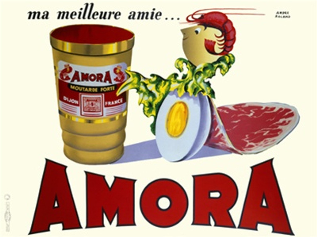 Amora 1948 by Morvan France - Beautiful Vintage Poster Reproductions. This horizontal French culinary / food poster features a person made of lobster, lettuce, meat and egg next to a gold jar on white. Giclee Advertising Print. Classic Posters
