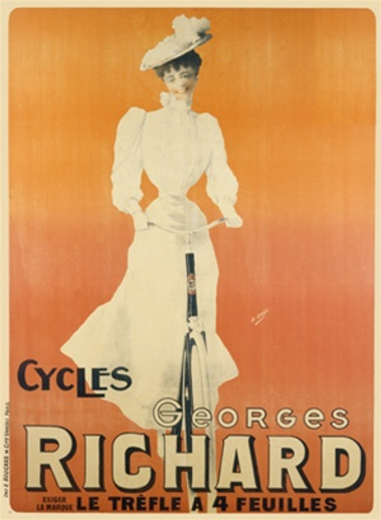Cycles Georges Richard by Gray 1905 France - Vintage Poster Reproductions. This vertical French transportation poster features a woman in white on a bicycle coming towards us on a pink orange background. Giclee Advertising Print. Classic Posters