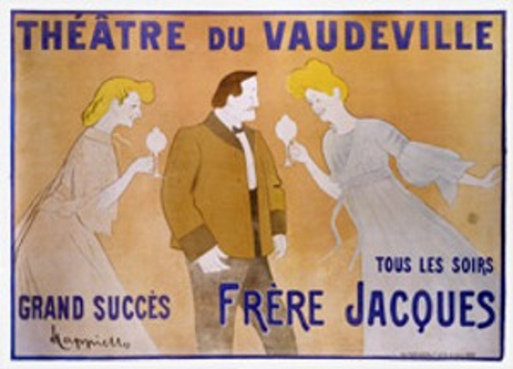 Theatre du Vaudeville by Cappiello 1903 France - Beautiful Vintage Poster Reproduction. This horizontal French poster advertising a comedy features a well dressed man in the center and two red headed women on either side of him. Giclee advertising print