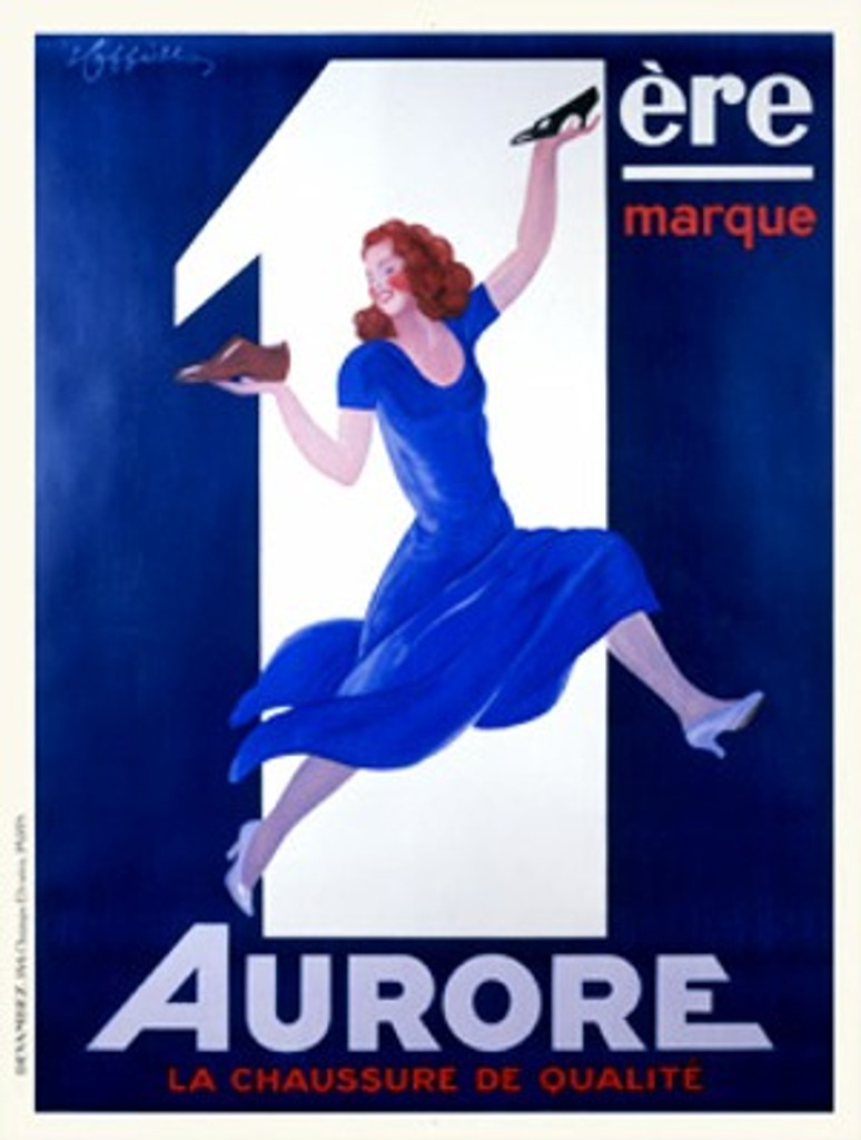 Aurore by Cappiello 1938 France - Beautiful Vintage Poster Reproduction. This vertical French poster features a woman springing across the print in a blue dress and high heels with a shoe in each hand held up in the air. Giclee advertising print Classic