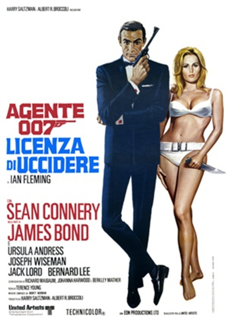 Agente 007 1965 Italy - Beautiful Vintage Poster Reproductions. This vertical Italian theater poster features Agent 007 with a gun and a blonde in a bikini with knife. Lecense to Kill. Giclee Advertising Print. Classic Posters