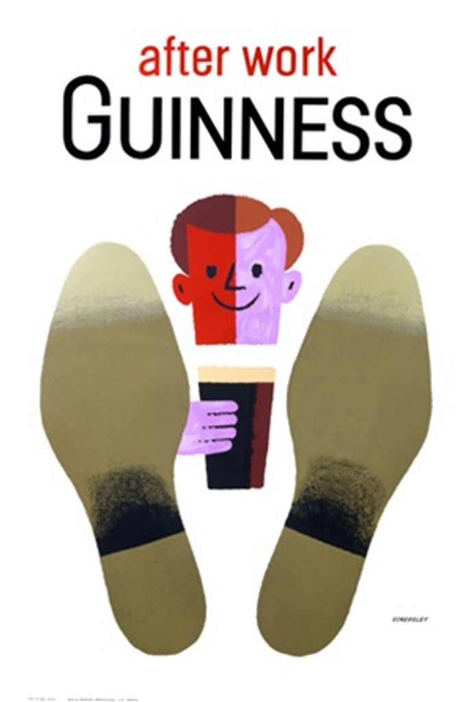 After Work Guinness by Eckersley 1950 England - Vintage Poster Reproductions. This vertical English wine and spirits poster features a graphic cartoon head of a man smiling holding a pint of beer with his feet up. Giclee Advertising Print. Classic Posters