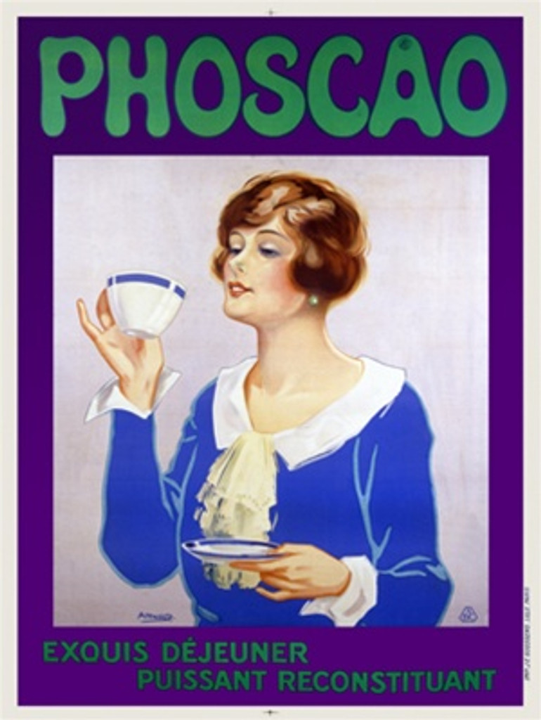 Phoscao poster by Arnold 1932 France - Beautiful Vintage Posters Reproductions. This vertical French food poster features a woman holding a saucer and getting ready to drink from a tea cup on purple background . Giclee Advertising Print. Classic Posters