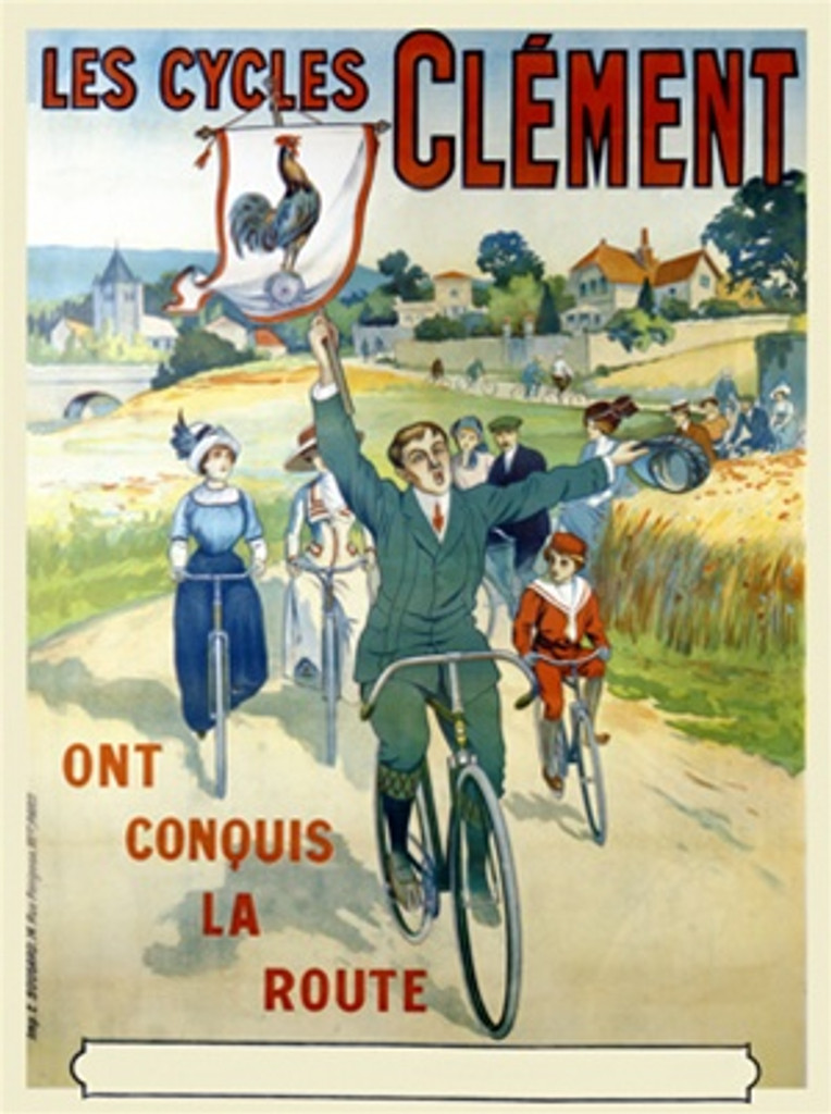 Cycles Clement poster - Vintage Posters Reproductions. This French transportation poster features a group riding bicycles on a country road with the man in front holding a flag with a rooster. Cycles Advertising Print. Classic Posters