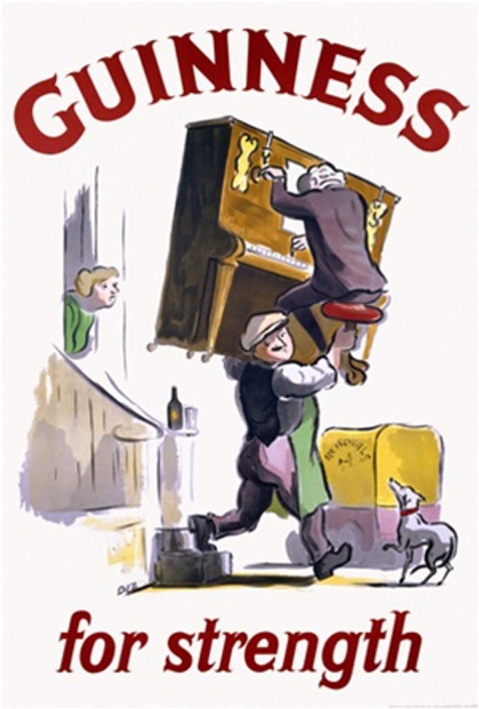 Guinness for strength 1950 England - Beautiful Vintage Beer Posters Reproductions. This vertical English wine and spirits poster features a man carrying a piano and its player as a women and dog watch. Giclee Advertising Prints. Classic Posters