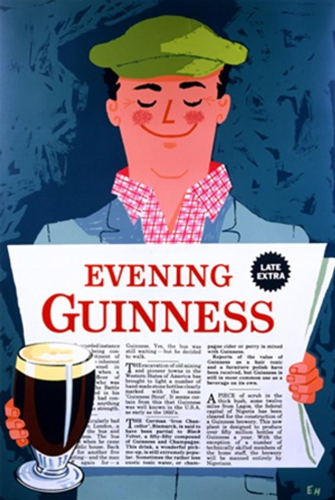 Evening Guinness Poster - Beautiful Vintage Posters Reproductions. This vertical English wine and spirits poster features a smiling man in a green hat reading the evening news holding a glass of guinness beer. Giclee Advertising Prints. Classic Posters