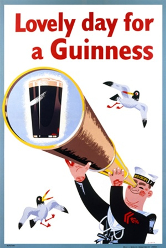 Lovely day for a Guinness 1956 England - Beautiful Vintage Poster Reproductions. This vertical English wine and spirits poster features a sailor looking through a telescope spyglass at a pint of beer. Giclee Advertising Print. Classic Posters