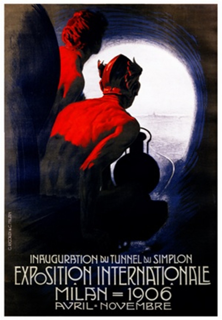 Exposition Internationale Milan by Metlicovitz 1906 Italy - Beautiful Vintage Poster Reproductions. This vertical Italian exhibition poster features two people illuminated by red light going through a tunnel. Giclee Advertising Print. Classic Posters